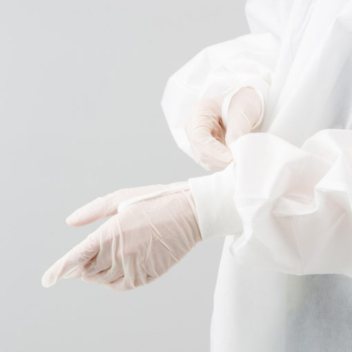 Sterile frock, view of sleeves